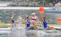 Ottensheim, AUSTRIA.  A  Final,  Men's coxed pair, FRA M2+ celebrate winning Silver as CAN M2+ takes the Gold, at the 2008 FISA Senior and Junior Rowing Championships,  Linz/Ottensheim. Sunday,  27/07/2008.  [Mandatory Credit: Peter SPURRIER, Intersport Images] Rowing Course: Linz/ Ottensheim, Austria