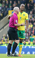 Norwich City's Cameron Jerome chats up Referee Simon Hooper<br /> <br /> Photographer David Shipman/CameraSport<br /> <br /> The EFL Sky Bet Championship - Norwich City v Blackburn Rovers - Saturday 11th March 2017 - Carrow Road - Norwich<br /> <br /> World Copyright &copy; 2017 CameraSport. All rights reserved. 43 Linden Ave. Countesthorpe. Leicester. England. LE8 5PG - Tel: +44 (0) 116 277 4147 - admin@camerasport.com - www.camerasport.com
