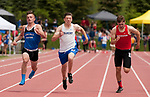 LITCHFIELD,  CT-052017JS12- Gilbert's Dylan Amery, center, edges out Lewis Mills' Jacob Lyga, left, and Northwestern's Jameson Weber to capture first place in the 100M dash with a time of 11:41 during the Berkshire League Outdoor Track and Field Championships Saturday at the Plumb Hill Sports Complex in Litchfield. <br /> Jim Shannon Republican-American