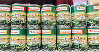 Cans of green beans wait to be distributed at a Thanksgiving dinner give away at the Catholic Charities' Lt. Joseph P. Kennedy Center in Harlem in New York on Tuesday, November 24, 2015. The food is from the generosity of the former baseball player Rusty Staub's foundation and the Urso Fund for the Hungry and Homeless. (© Richard B. Levine)