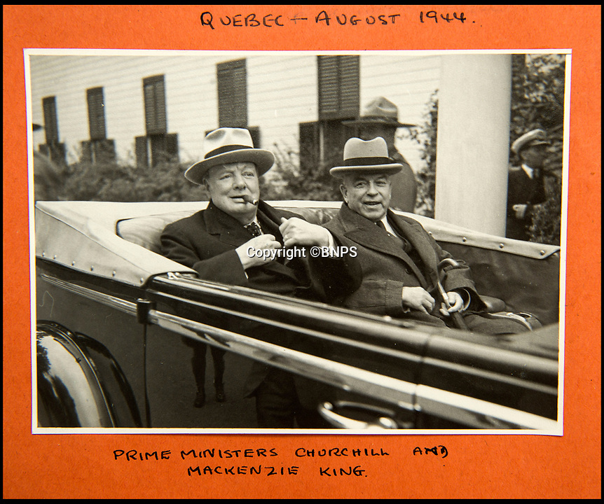 BNPS.co.uk (01202 558833)<br /> Pic: C&amp;T/BNPS<br /> <br /> Churchill with the Canadian Prime Minister McKenzie-Smith at the Quebec Conference in Sept 1944.<br /> <br /> A humble secretary's remarkable first hand archive of some of the most momentous events of WW2 has come to light.<br /> <br /> 'Miss Brenda Hart' worked in the Cabinet Office during the last two years of the war, travelling across the globe with the Allied leaders as the conflict drew to a close.<br /> <br /> Her unique collection of photographs and momentoes of Churchill, Stalin and other prominent Second World War figures have been unearthed after more than 70 years.<br /> <br /> The scrapbooks, which also feature Lord Mountbatten and Vyacheslav Molotov, were collated by Brenda Hart who, in her role as secretary to Churchill's chief of staff General Hastings Ismay, enjoyed incredible access to him and other world leaders.<br /> <br /> She also wrote a series of letters which give fascinating insights, including watching Churchill and Stalin shaking hands at the Bolshoi ballet in 1944, being behind Churchill as he walked out on to the balcony at the Ministry of Health to to wave to some 50,000 Londoners on VE day and even visiting Hitler's bombed out Reich Chancellery at the end of the war.<br /> <br /> This unique first hand account, captured in a collection of photos, passes, documents and letters are being sold at C&amp;T auctioneers on15th March with a &pound;1200 estimate.