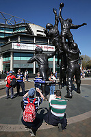 Supporters from both teams pose for a photo outside the stadium. The Clash, Aviva Premiership match, between Bath Rugby and Leicester Tigers on April 8, 2017 at Twickenham Stadium in London, England. Photo by: Rogan Thomson / JMP for Onside Images