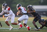 Towson, MD - September 9, 2016: Towson Tigers defensive back Monty Fenner (8) tackles St. Francis (Pa) Red Flash running back Marcus Bagley (2) for a lost during game between Towson and St. Francis at Minnegan Field at Johnny Unitas Stadium  in Towson, MD. September 9, 2016.  (Photo by Elliott Brown/Media Images International)
