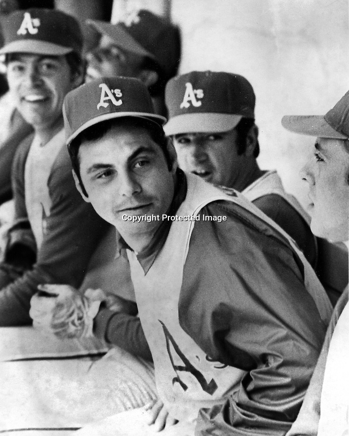 Sal Bando on the Oakland Athletics bench.<br />