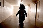 16315Ohio Bobcat Silhouette in Hallway at Convo