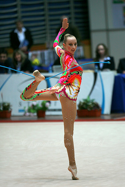 Vera Sessina of Russia turns pivot in ring position at Burgas Grand Prix Rhythmic Gymnastics on May 5, 2007.   (Photo by Tom Theobald)