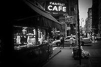 Photo of the small shop selling orange juices by the Fanelli Cafe on Greene Street in SoHo, Manhattan, New York, 2009.