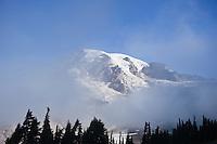 Mount Rainier emerges from clouds, Washington