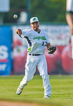 8 July 2015: Vermont Lake Monsters shortstop Richie Martin warms up prior to a game against the Mahoning Valley Scrappers at Centennial Field in Burlington, Vermont. The Lake Monsters defeated the Scrappers 9-4 to open the home game series of NY Penn League action. Mandatory Credit: Ed Wolfstein Photo *** RAW Image File Available ****
