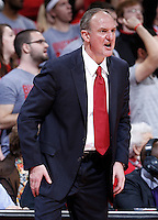 Ohio State Buckeyes head coach Thad Matta reacts in the second half of the college basketball game between the Ohio State Buckeyes and the Maryland Terrapins at the Jerome Schottenstein Center in Columbus, Wednesday evening, December 4, 2013. The Ohio State Buckeyes defeated the Maryland Terrapins 76 - 60. (The Columbus Dispatch / Eamon Queeney)