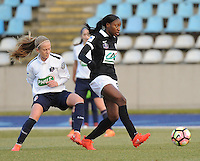 20170129 - LILLE , FRANCE : LOSC's Silke Demeyere (L) and Juvisy's Kadidiatou Diani (R) pictured during women soccer game between the women teams of Lille OSC and FFC Juvisy Essonne  during the 1/16 final for the 2017 French Cup at stade Lille Metropole , Sunday 29th of January ,  PHOTO Dirk Vuylsteke | Sportpix.Be