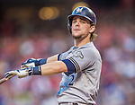 22 August 2015: Milwaukee Brewers infielder Scooter Gennett in action against the Washington Nationals at Nationals Park in Washington, DC. The Nationals defeated the Brewers 6-1 in the second game of their 3-game weekend series. Mandatory Credit: Ed Wolfstein Photo *** RAW (NEF) Image File Available ***