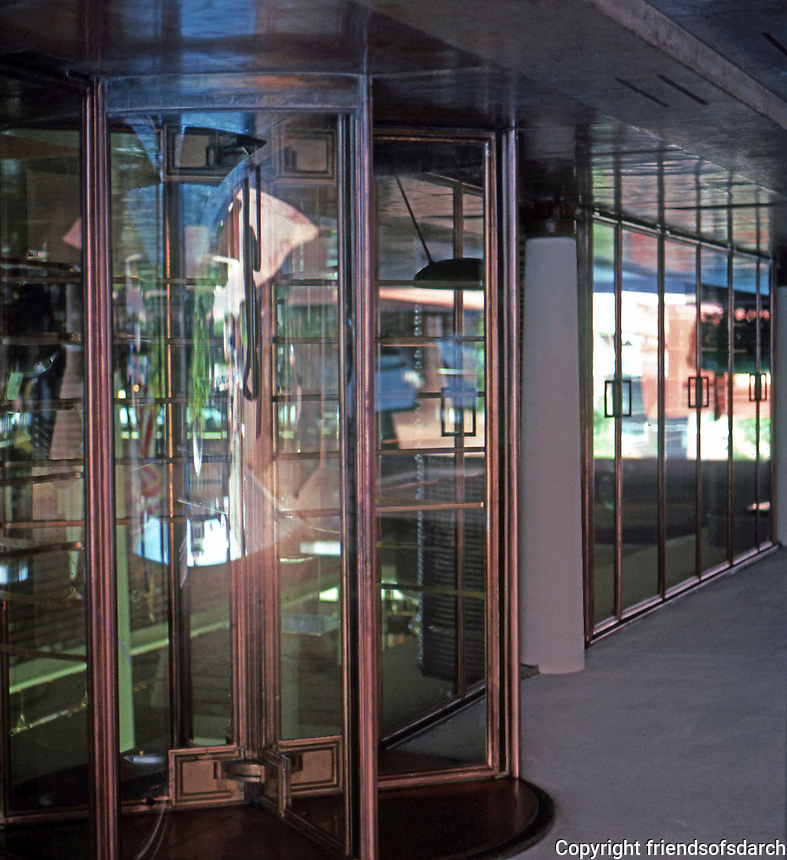 F.L. Wright: Johnson's Wax--entrance to office complex.  Photo '77.