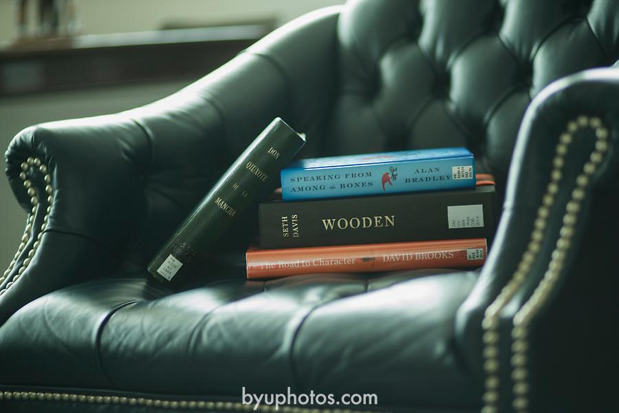 1507-12 09 <br /> <br /> Summer reading list for Kevin Worthen<br /> <br /> July 8, 2015<br /> <br /> Photo by: Savanna Sorensen/BYU<br /> <br /> &copy; BYU PHOTO 2015<br /> All Rights Reserved<br /> photo@byu.edu  (801)422-7322