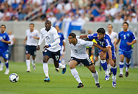 Charlie Davies of the USA battles with Manuel Salazar #12 of El Salvador during a World Cup Qualifying match at Rio Tinto Stadium, in Sandy, Utah, Friday, September 5, 2009.  .The USA won 2-1..