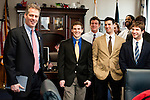 02/18/2011 - BostonMass. Senator Scott Brown, A81, greets the Tufts University Men's Lacrosse team in his Boston office on Friday, February 18, 2011.  (Alonso Nichols/Tufts University)