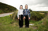 Hasidic brothers pose for a portrait on Constitutional Hill, a popular spot for afternoon walks within the Jewish community in Aberystwyth.