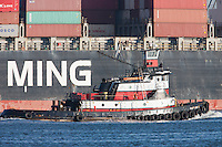 Tugboat Captain D passes the Y M March at the Maher Terminals container terminal facility in the Port Newark-Elizabeth Marine Terminal in Newark Bay.