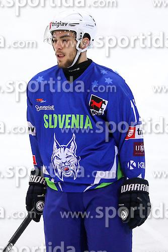 Zan Jezovsek of Slovenia during friendly ice hockey match between Slovenia and Croatia, on April 12, 2016 in Ledena dvorana, Bled, Slovenia. Photo By Matic Klansek Velej / Sportida