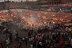 Djemaa el-Fna, main square, Marrakesh, Morocco, market, early evening,