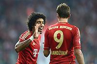 FUSSBALL   1. BUNDESLIGA  SAISON 2012/2013   5. Spieltag FC Bayern Muenchen - VFL Wolfsburg    25.09.2012 Jubel nach dem Tor Dante und Mario Mandzukic (v. li., FC Bayern Muenchen)