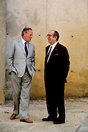 March 4, 1989, Casablanca, Morocco. The architect Michel Pinseau (R) and the contractor, Francis Bouygues (L), at an inspection meeting during the construction of the Hassan II Mosque. The mosque was completed in 1993.