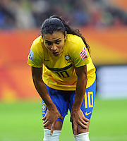 Marta of team Brazil reacts during the FIFA Women's World Cup at the FIFA Stadium in Wolfsburg, Germany on July 3rd, 2011.