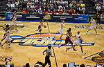 23 MAR 2012:  Alyssa Lane (15) center of Shaw University dribbles the ball up court against Ashland University during the Division II Womens Basketball Championship held at Bill Greehey Arena in San Antonio, TX.  Shaw University defeated Ashland University 88-82 for the national title.  Rodolfo Gonzalez/ NCAA Photos