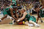 03 APR 2012:  Odyssey Sims (0) of Baylor University battles Markisha Wright (34) and Brittany Mallory (22) of the University of Notre Dame for a loose ball during the Division I Women's Basketball Championship held at the Pepsi Center in Denver, CO. Baylor defeated Notre Dame 80-61 to win the national title. Jamie Schwaberow/NCAA Photos