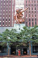 Michael Graves: Portland Building, 5th Ave. entrance. Sculpture by Raymond Kaskey. Photo '86.