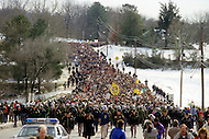 Georgia, Forsyth County, Cumming, 14th, January, 1987. 20,000 people on protest march against racism. General view of the march.