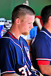 3 July 2010: Washington Nationals starting pitcher Stephen Strasburg sits in the dugout after being pulled from play against the New York Mets at Nationals Park in Washington, DC. Strasburg pitched a no-decision as the Nationals rallied in the bottom of the 9th to defeat the Mets 6-5 in the third game of their 4-game series. Mandatory Credit: Ed Wolfstein Photo