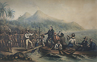 Reception of the missionary Reverend John Williams, 1796-1839, at Tanna, Vanuatu, in 1839, the day before he was massacred, coloured engraving, 1841, by George Baxter, 1804-67, in the Musee de Tahiti et des Iles, or Te Fare Manaha, at Punaauia, on the island of Tahiti, in the Windward Islands, Society Islands, French Polynesia. The Museum of Tahiti and the Islands was opened in 1974 and displays collections of nature and anthropology, habitations and artefacts, social and religious life and the history of French Polynesia. Picture by Manuel Cohen