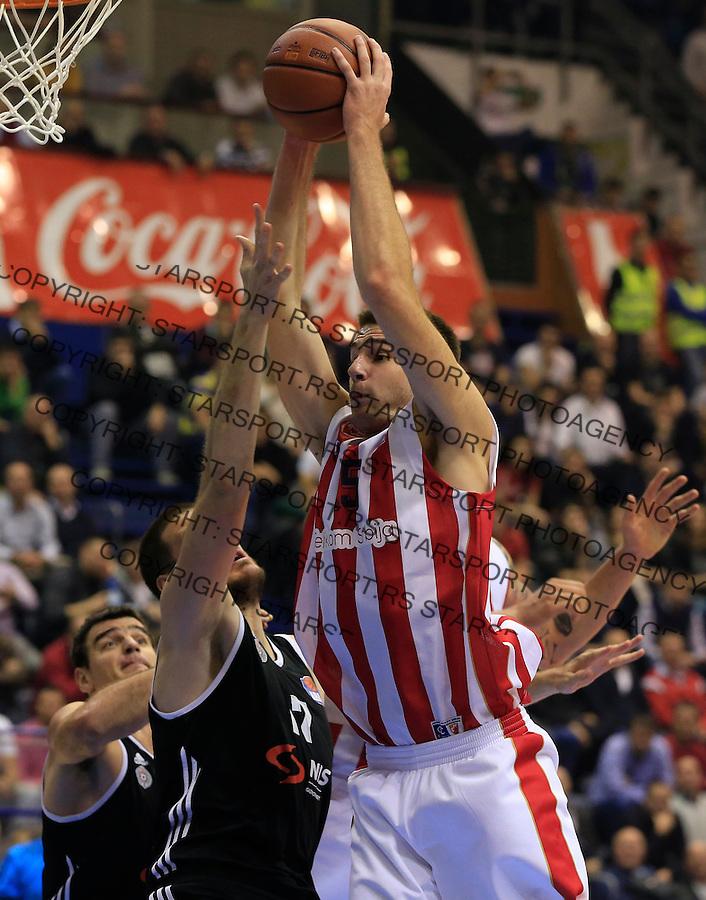 Kosarka ABA League season 2015-2016<br /> Crvena Zvezda v Partizan<br /> Marko Tejic (R) and Kosta Perovic<br /> Beograd, 03.11.2015.<br /> foto: Srdjan Stevanovic/Starsportphoto&copy;
