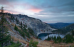 Idaho, North Central, Nez Perce National Forest, Grangeville. One of the Gosplel Lakes in the Gospel Hump Wilderness Area under an autumn sunset.
