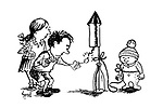 (A little boy lights a firework rocket which is tied to his baby brother)