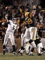 PITTSBURGH, PA - NOVEMBER 06: Joe Flacco #5 of the Baltimore Ravens throws a pass over Brett Keisel #99 of the Pittsburgh Steelers during the game on November 6, 2011 at Heinz Field in Pittsburgh, Pennsylvania.  (Photo by Jared Wickerham/Getty Images)