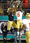 Wide receiver Michael Floyd (3) catches a third quarter TD pass over Florida State Seminoles cornerback Greg Reid (5).