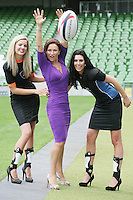 NO REPRO FEE. 8/9/2010. Bóthar launching Rugby Rocks Fashion. Ms Clare, Alice Carroll (right), Celia Holman Lee, Modeling agent and Ms Limerick, Valerie Somers (left) are pictured at the the Aviva Stadium, Lansdowne Road, Dublin to launch Bóthar's Rugby Rocks Fashion.This is the first fashion event to take place at the newly developed stadium. Tickets are EUR60 and discounts are available with multiple purchases. Log onto www.bothar.ie for further information or call 1850 82 99 99.. Picture James Horan/Collins