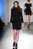 Model walks runway in an outfit from the Antonia Fall 2012 collection by, Antonia Mavrocordatos, at Nolcha Fashion Week: New York February 2012, during New York Fashion Week Fall 2012.