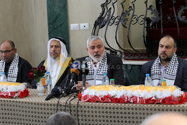 Senior political Hamas leader Ismail Haniya speaks during the opening of a new mosque, in al Tuffah area in the east of Gaza City on April 21, 2017. Photo by Mohammed Asad