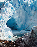 Ice falling from Glacier Perito Moreno into Lago Argentino.