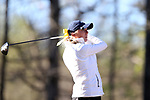 BROWNS SUMMIT, NC - APRIL 01: UNCG's Alexis Kershaw tees off on the 11th hole. The first round of the Bryan National Collegiate Women's Golf Tournament was held on April 1, 2017, at the Bryan Park Champions Course in Browns Summit, NC.