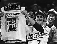 A's fan's with the American League clinch in 1989..Photo by Ron Riesterer