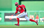 22 April 2010: Washington Nationals' center fielder Nyjer Morgan in action against the Colorado Rockies at Nationals Park in Washington, DC. The Rockies shut out the Nationals 2-0 gaining a 2-2 series split. Mandatory Credit: Ed Wolfstein Photo