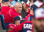 10 March 2014: Washington Nationals General Manager Mike Rizzo watches play from the end of the dugout during a Spring Training game against the Houston Astros at Space Coast Stadium in Viera, Florida. The Astros defeated the Nationals 7-4 in Grapefruit League play. Mandatory Credit: Ed Wolfstein Photo *** RAW (NEF) Image File Available ***