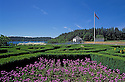 Formal garden and Blockhouse at English Camp, San Juan Island National Historic Park, San Juan Island, Washington..#2415-6558