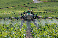 Farmer spraying vineyard, Champagne, France