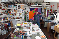 Luis_Ituarte, painter, at his studio in Colonia Federal, Tijuana. ...@ Stefan Falke.http://www.stefanfalke.com/.