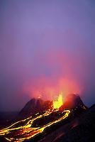 Lava fountains from splatter cone at Kilauea Volcano, Hawaii Volcanoes National Park, Big Island